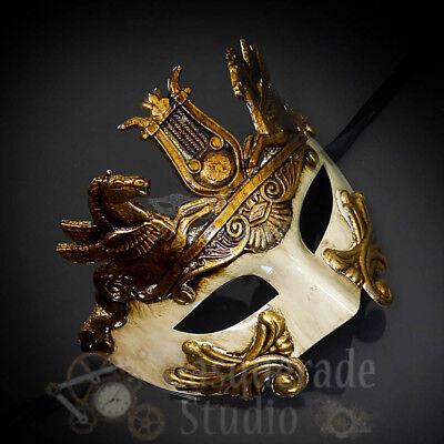 Men/'s Red Demon Venetian Masquerade Half Face Gladiator Warrior One Size NEW