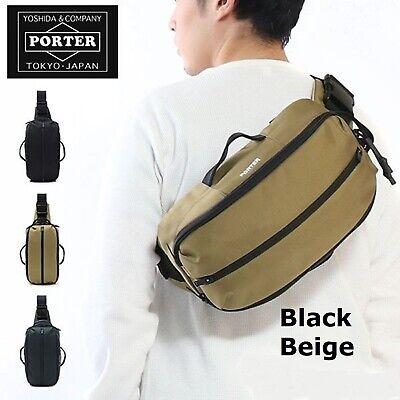 YOSHIDA PORTER KLUNKERZ SHOULDER BAG Made in Japan 568-08175 F//S Black,Beige