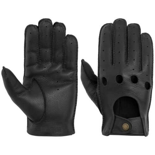 Stetson Deer Nappa Black Leather Driving Gloves Sized
