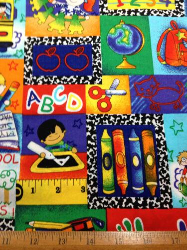 School Kinder Kids Classroom ABC Bus Children crayons 15x42 valance cotton print