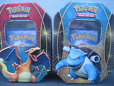 EMPTY POKEMON CHARIZARD AND BLASTOISE TIN CHEAP 3 BONUS CARDS  IN EACH FOR FREE