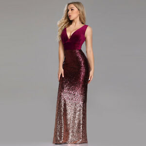 d131a561dd Details about UK Ever-Pretty Burgundy Long Velvet Evening Dress Sequins  Fishtail Bodycon Gowns