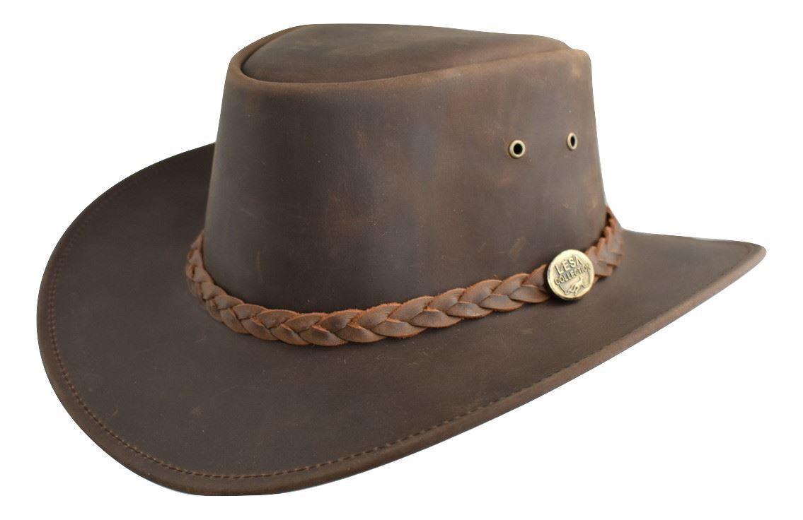 Lesa Collection Full Grain Dark Brown Leather Bush Hat