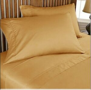 Bedding-Sheets-Collection-Egyptian-Cotton-Choose-Item-Gold-Solid-AU-Sizes