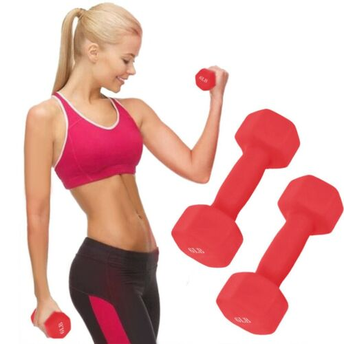 Pair 15 Pound Dumbbell Cap Barbell Neoprene Coated Weights Home GYM FITNESS