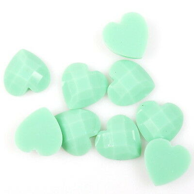 150pcs 241104 Charms Green Faceted Heart Stick-on Flatback Embellishment Fit DIY