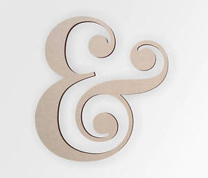 Wooden shape Cursive swirly Ampersand, Wooden Cut Out, Wall Art, Home Decor