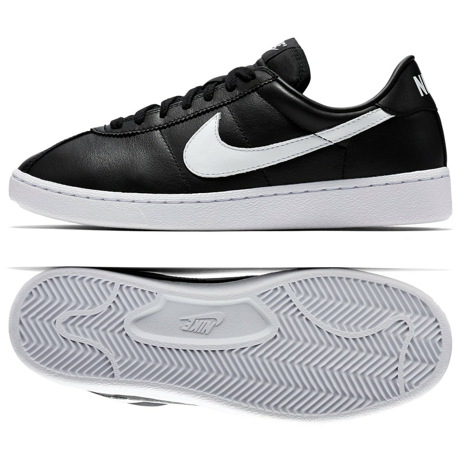 Nike Bruin QS Leather '70s 842956-001 Black/White Swoosh Men's Shoes