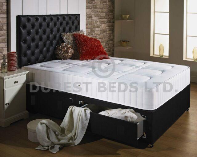 QUILTED MEMORY FOAM BED DIVAN + MATTRESS  HEADBOARD 6FT 5FT KING 4FT6 DOUBLE 3FT