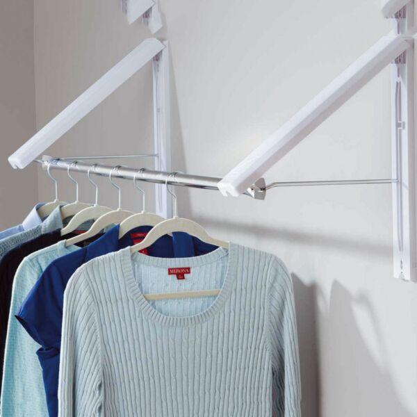 2 X Folding Wall Mounted Retractable Laundry Rack Portable Clothes Coat Hanger Gediversifieerd In Verpakkingen