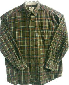 Woolrich-Mens-Size-L-Brown-Flannel-Plaids-amp-Checks-Long-Sleeve-Lumberjack-Shirt