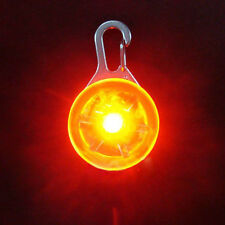 Pet Dog LED Flasher Blinker Circular Light Buckle Clip Safety Pendant Red
