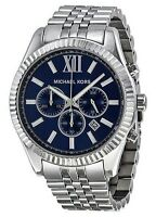 MICHAEL KORS MK8280 LEXINGTON Chronograph Silver Tone Navy Blue Dial Men Watch