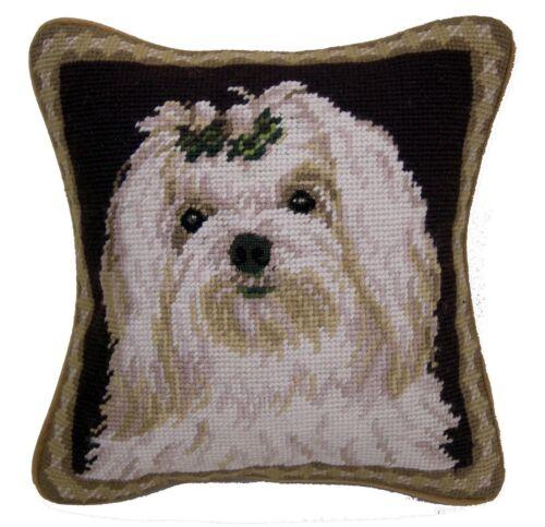 """Maltese Dog Needlepoint Pillow 10/""""x10/"""" NWT"""