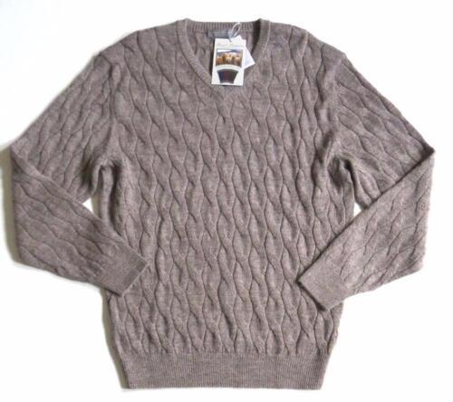 NWT Daniel Cremieux Signature Collection $150 Alpaca Cable Knit V-Neck Sweater