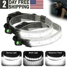 2 Pack Cobled Headlamp Headlight Torch Flashlight Work Light Bar Head Band Lamp