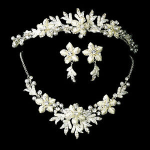 Winter Snowflake Bridal Jewelry Tiara Set White Silver Gold Ivory