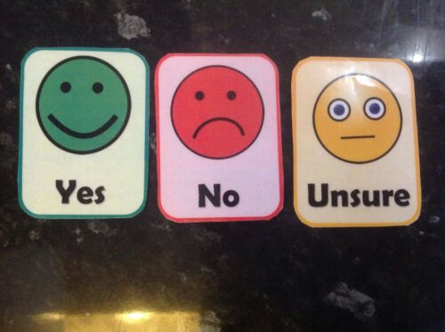 Yes No unsure flashcards Autism Non Verbal communication ASD dementia EAL SEN