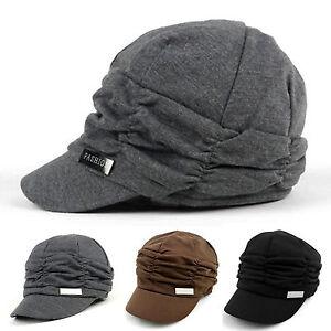 Ladies-Winter-Visor-Beanie-Knit-Hat-Cap-Crochet-Women-Ski-Thick-Warm-Stylish