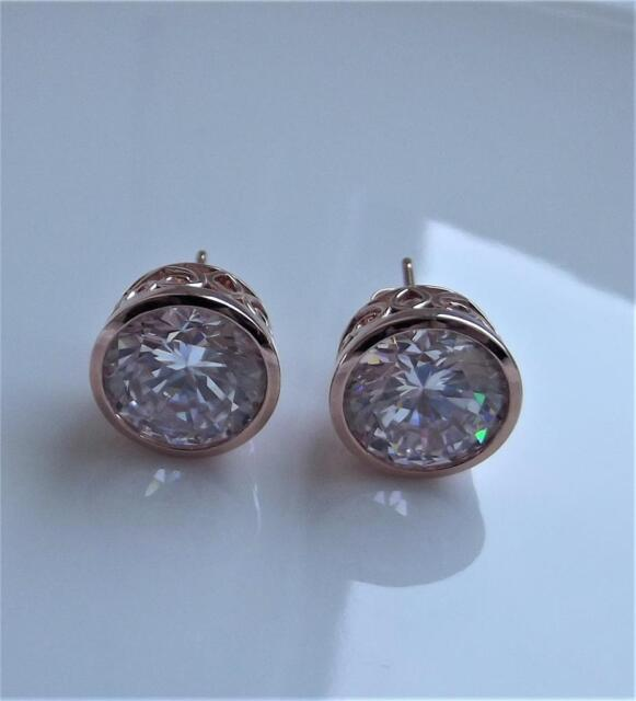 Michelle Mono Diamonique 8ct Rose Gold Plated Sterling Silver Earrings Qvc For Sale Online Ebay