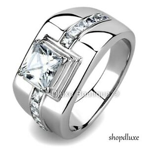 Men-039-s-4-15-Ct-Princess-Cut-Simulated-Diamond-Silver-Stainless-Steel-Ring-Sz-8-13