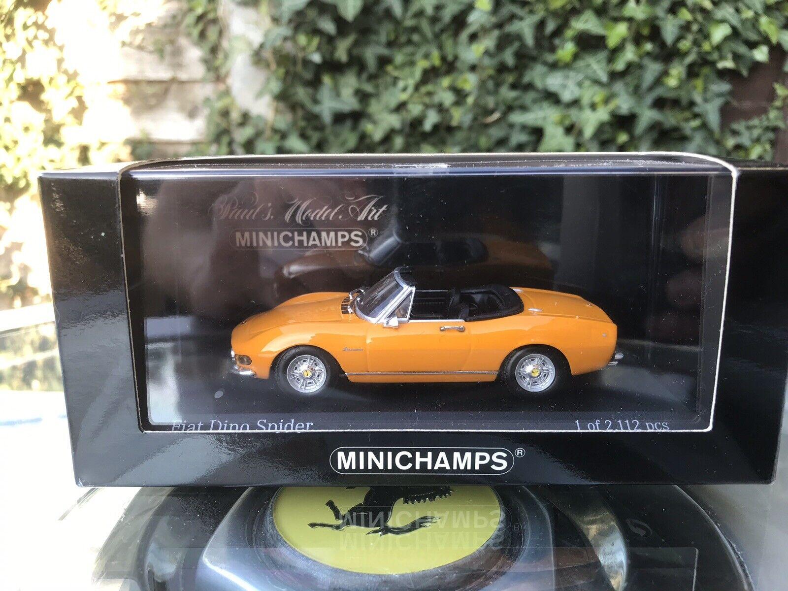 Minichamps Fiat Dino Spider 1972 jaune 1 43 En parfait état, dans sa boîte LTD ED jaune POSTANO