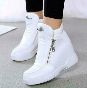 Lady-Sneakers-High-Top-Zip-Hidden-Wedge-Heels-Women-039-s-Prom-Ankle-Boots-Shoes-New