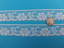 """French Heirloom Cotton Lace Floral Edging 1"""" White Fashion/Craft/Doll Lace 21237"""
