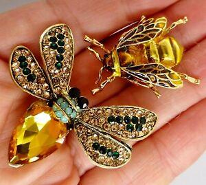 Bee-insect-brooch-lot-pair-enamel-crystal-rhinestone-vintage-style-in-gift-box