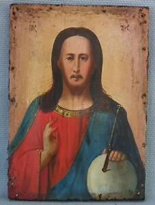 Self-Conscious Authentic Antique Russian Orthodox Icon Christ Pantocrator 19th Century Russia Christianity
