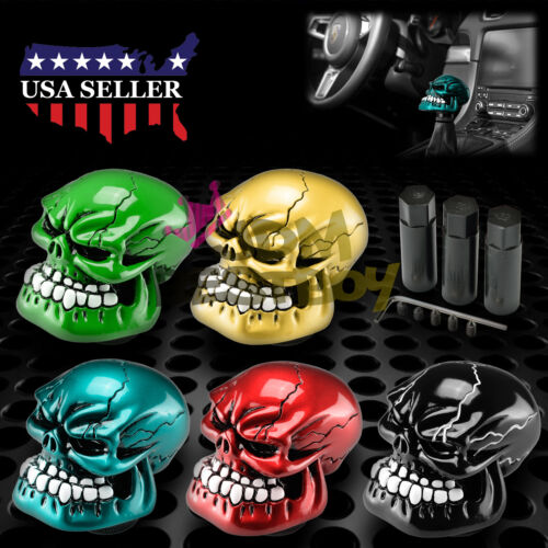 Red Universal Manual Wicked Carved Skull Head Gear Car Stick Shift Knob Shifter