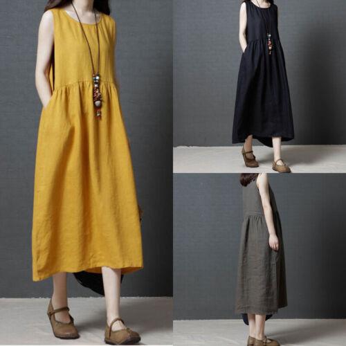 Women Round Neck Vintage Ethnic Party Long Maxi Dress Sleeveless Sundress