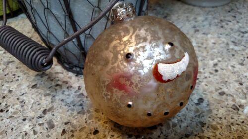 "NWT Ragon 2/"" Primitive Frosty SNOWMAN HEAD Heavy Glass CHRISTMAS ORNAMENT"