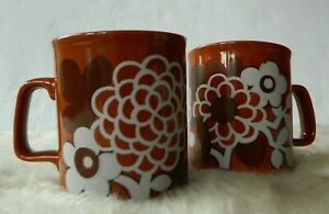 Set-of-2-Kiln-Craft-Brown-Floral-Mugs-Made-in-England-S11-77