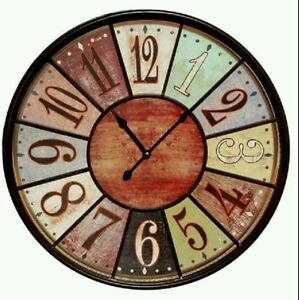 Large Multi Color 23 Quot Wall Clock Tuscan Bistro Wood Iron