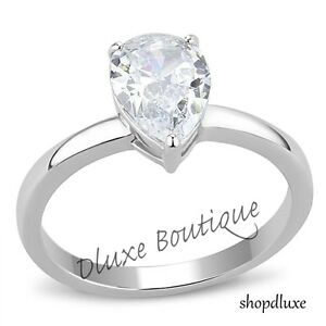 Beautiful-Pear-Shape-Stainless-Steel-CZ-Engagement-Ring-Band-Women-039-s-Size-5-10
