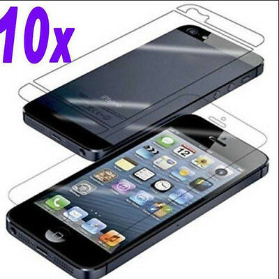 New 20pcs=10x(Front+Back Clear Screen Protector Cover Film for Apple iPhone 5s 5