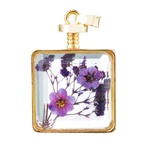 1 PC Gold Plated Glass Pendant Red Dried Flower 4.8cmx2.85cm