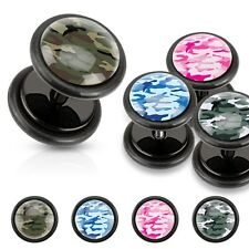 Black Acrylic Fake Plugs Camouflage Print Inlayed Pink and White Earrings Pair
