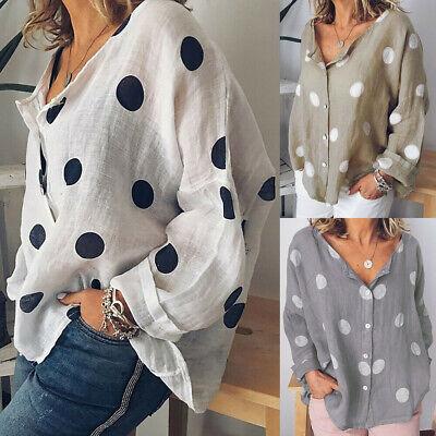 UK Women Short Sleeve Long Tops Blouse Ladies Summer Polka Dot  Knit Dress Size