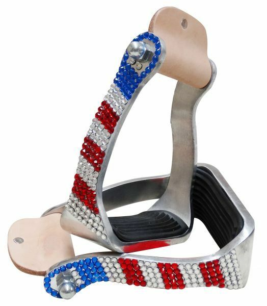 Showman  RED WHITE & blueE Crystal Rhinestones Aluminum Western STIRRUPS  the best selection of