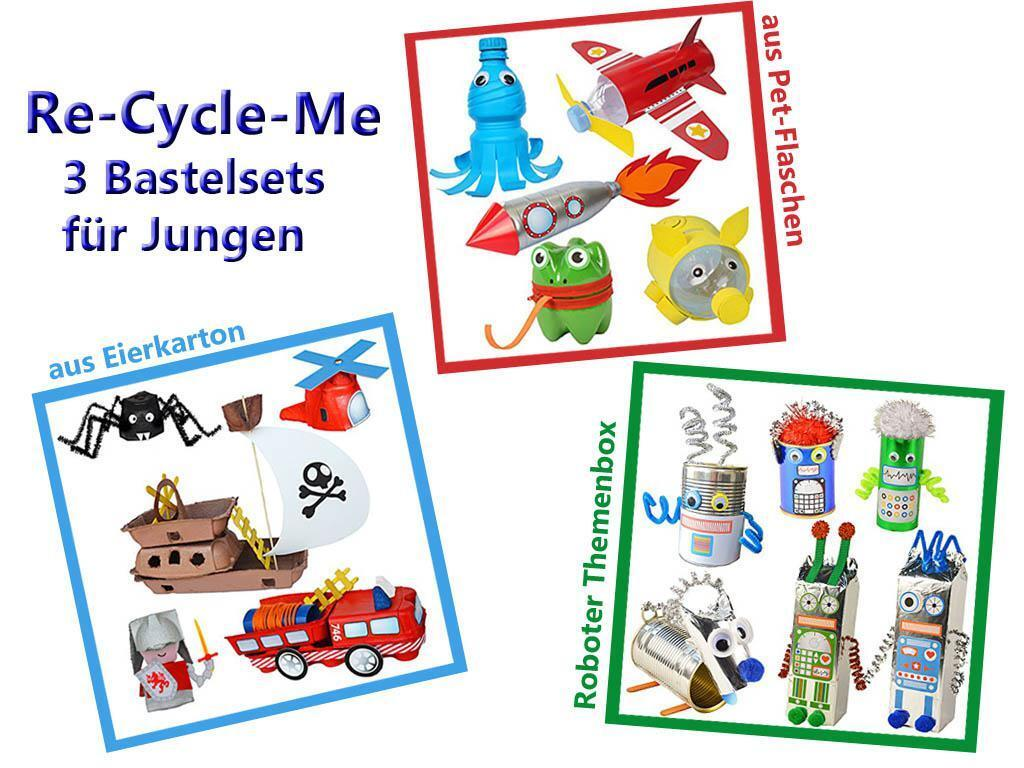 Re-Cycle-Me - 3er Craft Set for Boys Handicraft with Egg Carton, Pet Bottle New
