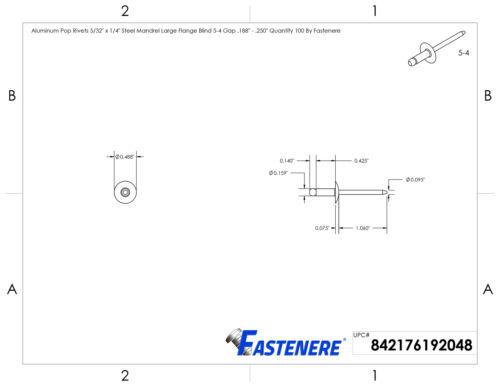 "5-4 Large Flange Pop Rivets 5//32/"" x 1//4/"" Aluminum Body Steel Mandrel Qty 100"