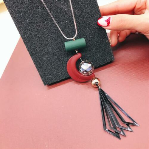 Fashion Women Long Chain Crystal Rhinestone Silver Plated Chic Pendant Necklace