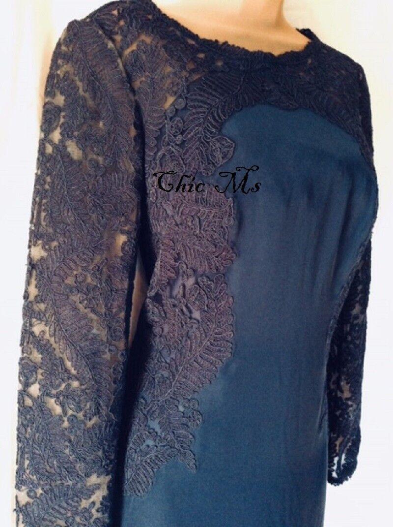 NWT TADASHI SHOJI Navy Cord Embroidered Lace Crepe Kinglet Kinglet Kinglet Long Sleeve Gown 8 045ce7