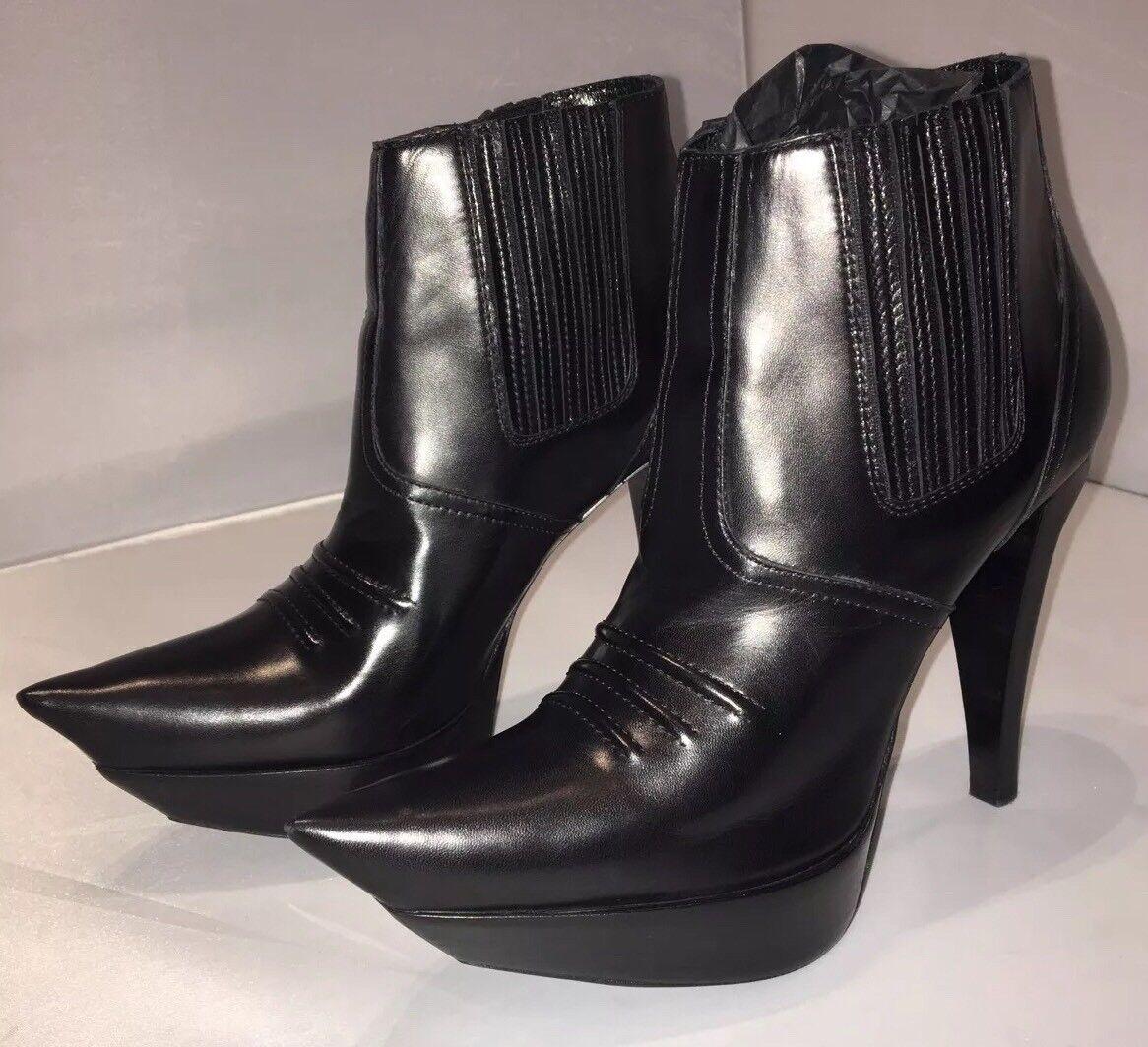 Nervioso Balenciaga botas al tobillo de cuero negro-tamaño 36, Reino Unido 3, Nuevo Y En Caja