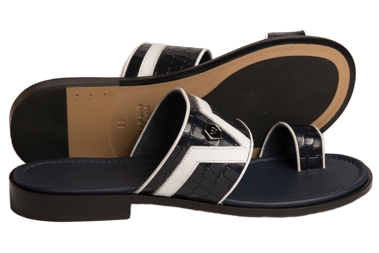 Giampieronicola 5396 Italian mens navy blu, bianca leather push-in-toe sandals