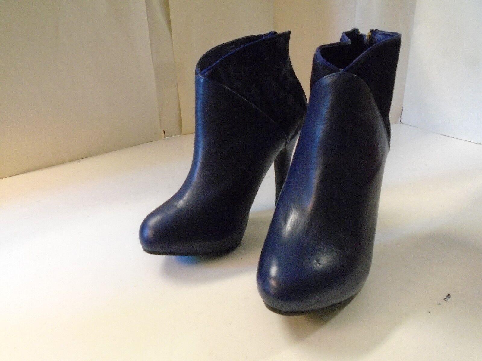 Me Too Lexington Lexington Lexington Ink Blau 6 M Leather Fashion Ankle Heel Real Fur Upper New 8ad25f