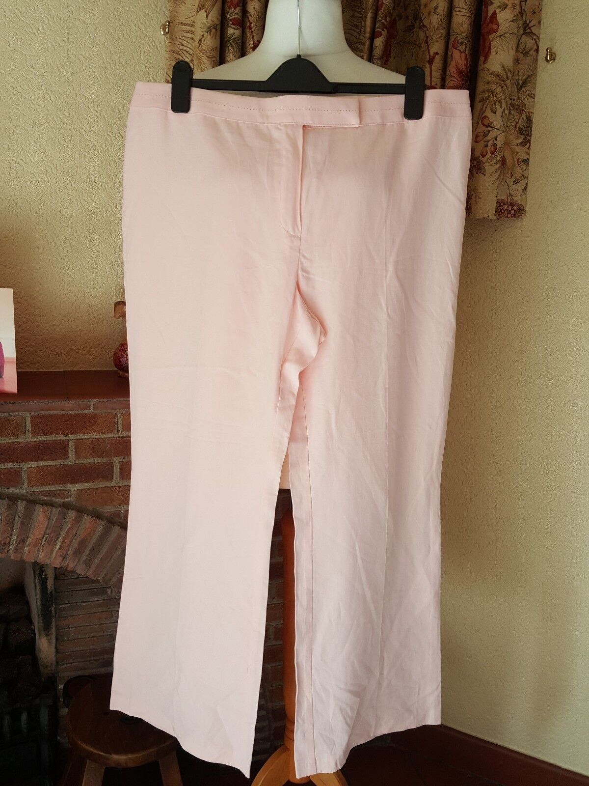 LADIES PINK LINEN STRAIGHT LEG TROUSERS FROM M&S  SIZE 20 MEDIUM HOLIDAY