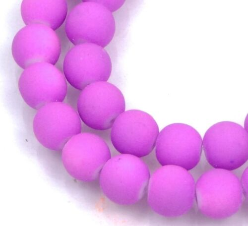 """Orchid 16/"""" Lavender 8mm Matte Frosted Neon Rubberized Glass Round Beads"""